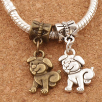 Pet Dog Metal Big Hole Beads Dangle 100pcs / lot Antiga Prata / Bronze Fit European Charm Bracelets Jóias DIY B116 11.4x28mm
