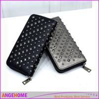 Wholesale Cool Wallets Punk - New fashion women wallet long pu leather purse clutch vintage punk cool rivets black grey wallet