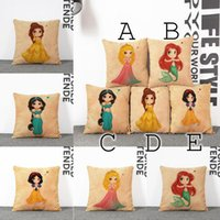Wholesale Cute Seat Covers For Cars - 45*45CM 17.8INCH Cartoon Mermaid Cushion Covers Cute Cartoon Princess Girls Style Cushion Cover Seat Cushion Covers For Couches And Cars