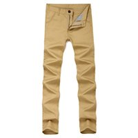Wholesale yellow pants casual for men - Wholesale-Slim Fit Casual Khaki Pants Men Lightweight Straight-Fit Army Green Summer Long Pant for Men 6 Colors