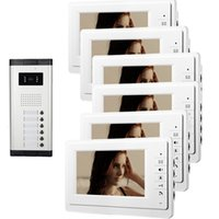 Wholesale Entry Intercom System - Xinsilu 7 inch Wired Video Door Phone Apartment 6 Unit Intercom Entry System Audio Visual Waterproof V70F-520C-6