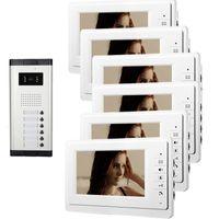 telefone de interfone com fio venda por atacado-Xinsilu 7 polegada Com Fio Vídeo Porteiro Apartamento 6 Unidade Intercom Entrada Sistema de Áudio Visual À Prova D 'Água V70F-520C-6