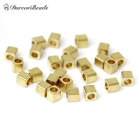 Seed All'ingrosso-Rame Perle Cube Light Gold circa 2,0 mm (1/8