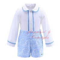 Wholesale Button Down Back Shirt - Cutestyles Hot Selling Wathet Blue Boutique Boys Clothes Suits White Shirt Back With Button Jacquard Shorts Baby Autumn Wear B-DMCS908-898
