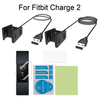 Wholesale Packing For Bracelet - 2-Pack(55cm+100cm) Black USB Charger + 3 in 1 Smart Band Screen Protector For Fitbit Charge 2 Wristband Bracelet FREE SHIPPING BG0196