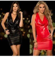 Wholesale Sexy Uniform Tubes - Free Shipping Sexy lingerie double color PU leather skirt leather skirt DS steel tube dance clothing Club
