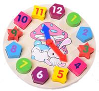 Wholesale Baby Girls Clock - New Children Educational Toy Wooden Blocks Toys Digital Geometry Clock Baby Boy Girl Gift Bricks Blocks