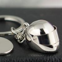 Wholesale Moon Helmets - 10pcs Lot Helmet Keychain Fashion Creative Motorcycle Bicycle Casque Key Chain Ring Keyring Keyfob Key Holder 86044