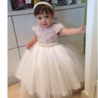 Wholesale Graceful Dresses For Girls - Graceful Pearls Beaded Ball Gown Baby Girl Party Dresses 2017 Kids First Communion Gowns Formal Prom Dresses For Wedding Custom Made