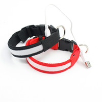 Wholesale Rechargeable Lighted Dog Collars - 2016 New Dog supplies USB LED Dog Collars Webbing Rechargeable battery 3 sizes 6 colors free shipping