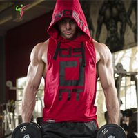 Wholesale Stretchy Shirts - 2017 Stretchy Sleeveless Shirt Casual Fashion Hooded Gyms Tank Top Men bodybuilding Fitness Clothing