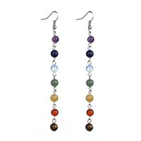 Wholesale Yoga Earrings - Women Earrings 7 Chakra Beads Yoga Reiki Rainbow Round Natural Stone Long Drop Silver Color Earrings Pendientes Mujer Moda