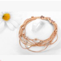 Wholesale Genuine Crystal Jewellery - Fashion Multilayer 18k Rose Gold Plated Bracelet For Women Genuine Austrian Crystal Jewelry Female Charm Bracelets Brand Jewellery