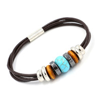 Wholesale Turquoise Jewelry For Girls - Fashion Turquoise Beaded Bracelet Wholesale Rrade Leather Bracelets for Women Bohemian Bangle Girls Jewelry Gift Apparel Gifts