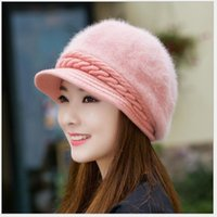 Wholesale Beret Ear - 2016 New Autumn Winter Women Rabbit Fur Hats Caps Fashion Lady Pure Color Knitted Berets Hat Korean Style Ladies Keep Warm Ear Cap 10pcs lot