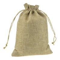 ingrosso regali promozionali dei monili-13x18 cm personalizzato stampato promozionale faux iuta coulisse sacchetti con coulisse sacchetti di imballaggio dei monili del regalo elegante naturale tela riutilizzabile