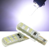 Wholesale White Leds For Car - T10 LED Bulb 18x3014 6x5050 SMD LEDs For Car W5W Side Marker License plate Reading Lamp Silica gel Bulb White Lights