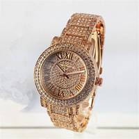 diamantquarz großhandel-Luxuxuhr-Frauen-Uhr M-Diamant-Vorwahlknopf-Band-römische Zahl-Quarz-Uhren für Damen-Damen-Entwerfer-Uhren geben Verschiffen frei