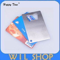 Wholesale Bottle Opener Credit Card - DHL Free Shipping 50PCS Wallet Size Stainless Steel Credit Card Bottle Opener Business Card Beer Openers