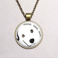 Wholesale Photo Rescue - Wholesale Rescue Raise Love Necklace Glass Art Picture Pendant Necklace ,Photo Pendant Jewelry