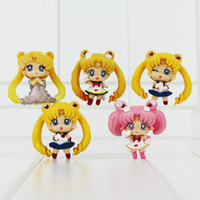 modelo luna marinero al por mayor-Linda figura de acción de PVC de anime Sailor Moon, modelo de colección de juguete para regalo de cumpleaños de niña de 4,5 cm
