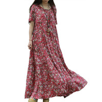 Wholesale Dresses Sommer - Wholesale- short sleeve summer beach dress 2017 small floral cotton maxi long dresses women shirt dress bohemian folk robe sommer kleid