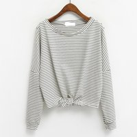 Wholesale Korean Neck Strap - harajuku shirt women 2017 plus size korean ulzzang spring clothes autumn style rock new kawaii strap striped t-shirt women tops