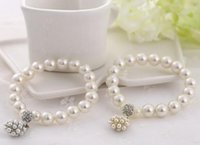 Wholesale 14k Gold Pearl Bracelets Wholesale - .Luxury fashion designer Pearl Beaded Bracelet Bridal Charm jewelry for women lady girl beautiful Elastic bracelet lovely wedding jewellry