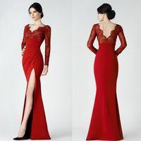 Wholesale Empire Waist Trumpet - Red Saiid Kobeisy Split Dresses Evening Wear Mermaid Lace V Neck Backless Evening Gowns Floor Length Empire Waist Formal Dress
