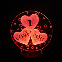 Wholesale Gradient Night Light - Four heart LOVE Gift 3D Birthday Gradient Night Light Touch Contral Stereo Colored Acrylic Light Energy Night Lamp Table Lights