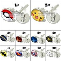 Wholesale Cufflink Silver Plate - New Arrivals 2016 Pocket Monster Pokeball Pikachu Cuff Links Sleeve Button luxury cufflinks for men women shirts Dress Suits Christmas Gift