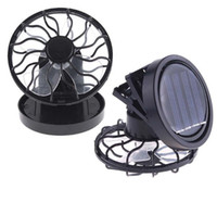 Wholesale Solar Camping Fans - Black Solar Power Fan Clip-on Stand Sun Cooler Fishing Travelling small fan Drop Shipping