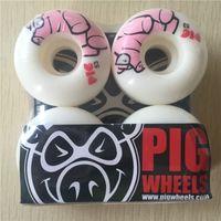 Wholesale Pig Skateboard Wheels - Wholesale-New arrived Free shipping PIG Skateboard Wheels PU Skate Wheels White 101A 53mm Wheels SKateboard Rodas De Skate