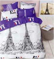 Wholesale Comforter Sets Queen Eiffel Tower - France Eiffel Tower scenery,   4pcs bedding set, Duvet cover set, full queen size Include:bed sheet,duvet cover pillowcase Home Textil
