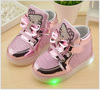 Wholesale Cat Girl Shoes - Hot sale 2017 autumn new fashion cute cat bow led crystal girls shoes lights kids rubber gold silver pink 3 colors