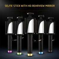 monopé de espelho venda por atacado-Dobrável Universal Mini Handheld Com Fio Selfie Vara Câmera Monopé Tripé Cabo Titular com Espelho para ISO Android Telefone Inteligente