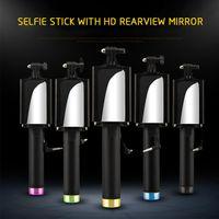 зеркальный монопод оптовых-Универсальный складной мини ручной проводной Selfie Stick камеры монопод штатив держатель кабеля с зеркалом для ISO Android смартфон