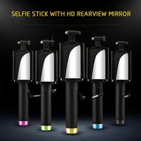 Wholesale Iso Wire - Universal Foldable Mini Handheld Wired Selfie Stick Camera Monopod Tripod Cable Holder with Mirror for ISO Android Smart Phone