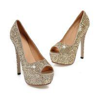 sandalias de tacón de oro por la noche al por mayor-Dama de la moda Gorgeous Nightclub Zapatos de noche Súper tacones altos Sandalias Zapatos de vestir de mujer Boda de oro Zapatos de vestir Peep Toes