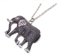 Wholesale Elephant Necklace Retro - Retro carved elephant mascot elephants necklace elephants necklace jewelry high quality jewelry diamond elephant sweater chain