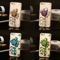 3D luxe clair Bling diamant peau Phone Case gouttes fait à la main Fox strass cristal pour iphone 5 6 6s plus protection couverture