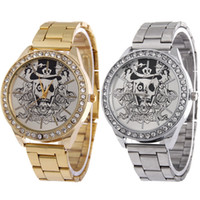 Wholesale Unique Crystal Stainless - Punk Style Skull Design Unique Stainless Steel Crystal Watch for Mens Business Casual Analog Quartz Luxury Brand New Man Dress Watch