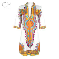 Wholesale Newest Summer Clothing - African Women Clothing Newest White Dashiki Fashion Dress Succunct African Tranditional Print V Neck Dashiki Dress For Women