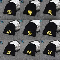 remendos de beanies venda por atacado-New Zodiac Beanie Bordado Patch Patch Knitted Cap Crochet Malha Chapéus A Constelação Do Crânio Caps Gorro Hip Hop