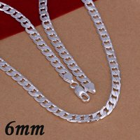 Wholesale Cuban Link Wholesale - Hot 925 Sterling Silver Plate 6mm Flat Chains Cuban Link Necklace Men's Necklaces Lobster Clasp Jewelry Christmas Gift