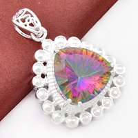 Wholesale Rainbow Links - New Sale South American Women's Anniversary Gorjuss Cross Fascinating Rainbow Charm Heart Mystic Topaz Silver Necklace Pendant P0096