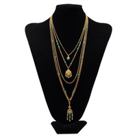 Wholesale Long Set Chain - Fashion Layering Necklaces Set Women Multi layer Necklace Gold Long Thin Chain Minimal Gold Fill Delicate Boho Jewelry Collier