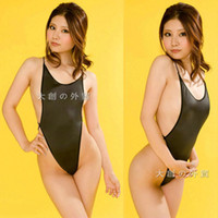 Wholesale Transparent Teddies - Women Sexy One Piece High Cut Transparent Swimwear ee Through Monokini Erotic Lingerie Teddies Bodysuit Leotard Free Size
