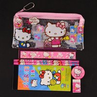 Wholesale Cute Pencil Cases For Girls - 24 sets lot hello kitty pencil case children sticker cute cartoon school supplies stationery kawaii pencil cases for girls gift