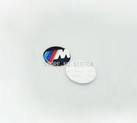 Wholesale Self Adhesive Carbon Fiber - Car-styling 20x 45mm Stickers Self Adhesive Aluminium Wheel Badge Emblem Badge For Car Black White Carbon Fiber Free Shipping